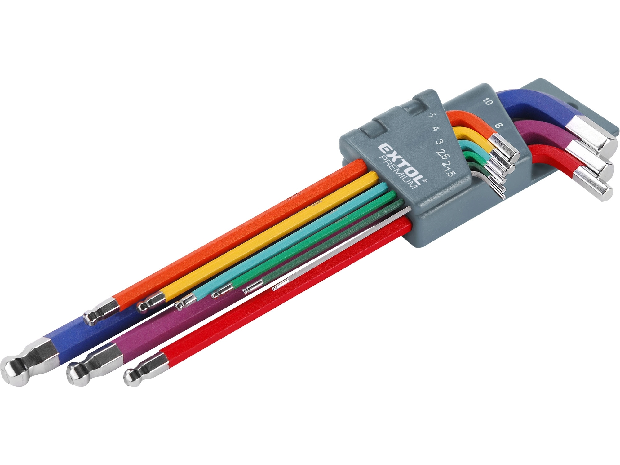 L-klíče IMBUS prodloužené barevné, sada 9ks, s kuličkou, 1,5-10mm