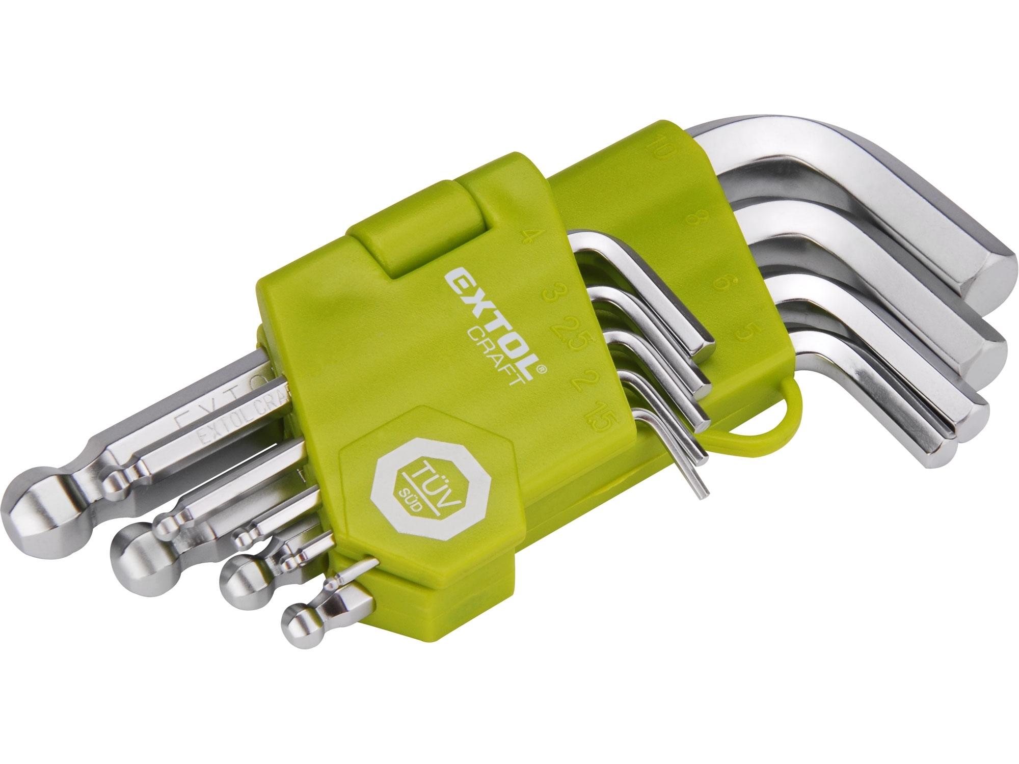 L-klíče IMBUS krátké, sada 9ks, H1,5-10mm, EXTOL CRAFT 66000