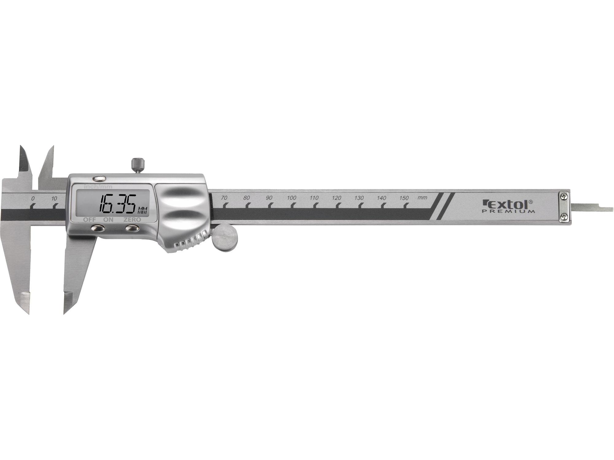 měřítko posuvné digitální kovové, 0-150mm, EXTOL PREMIUM 8825225