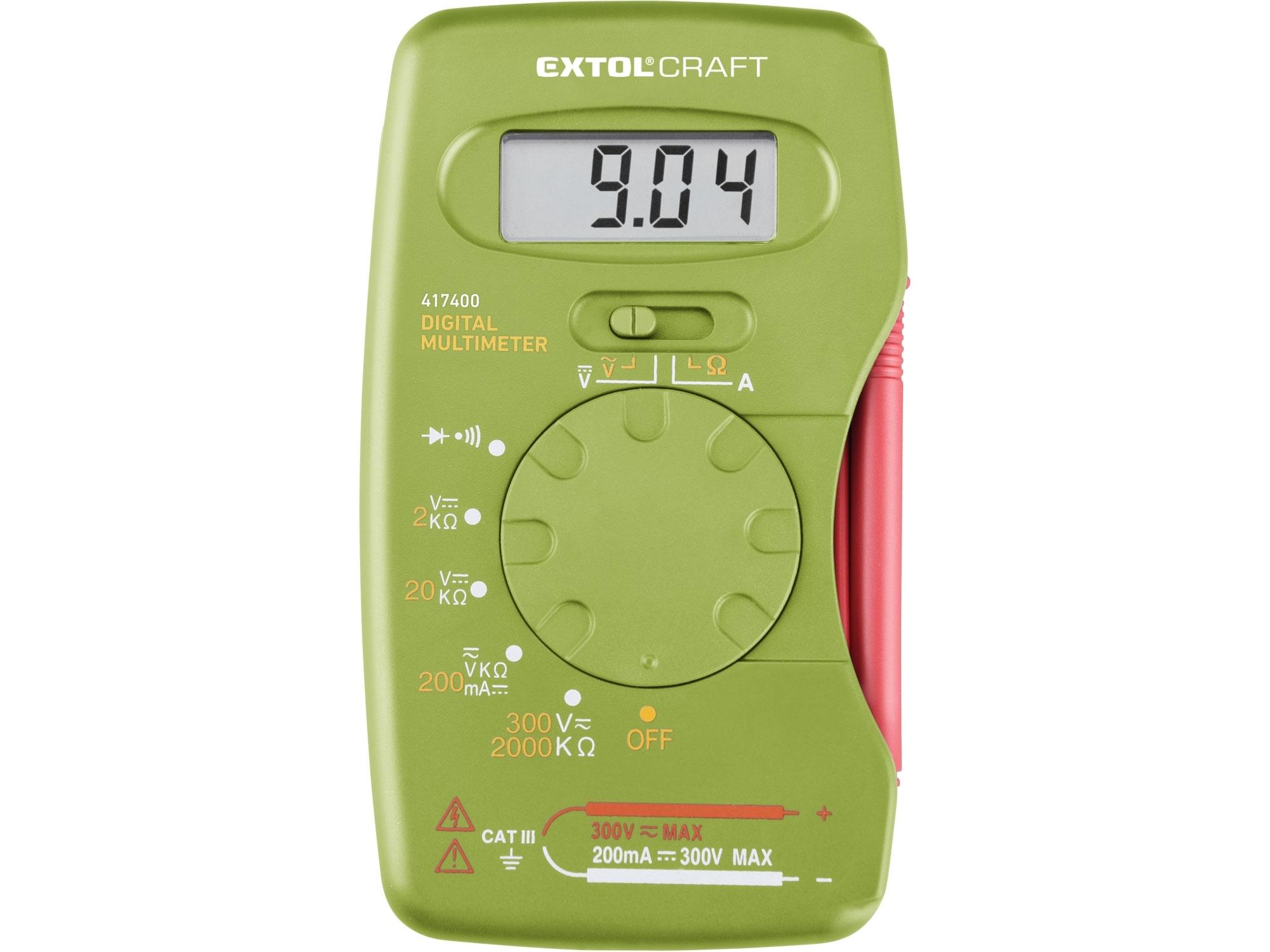 multimetr digitální, kapesní, EXTOL CRAFT 417400