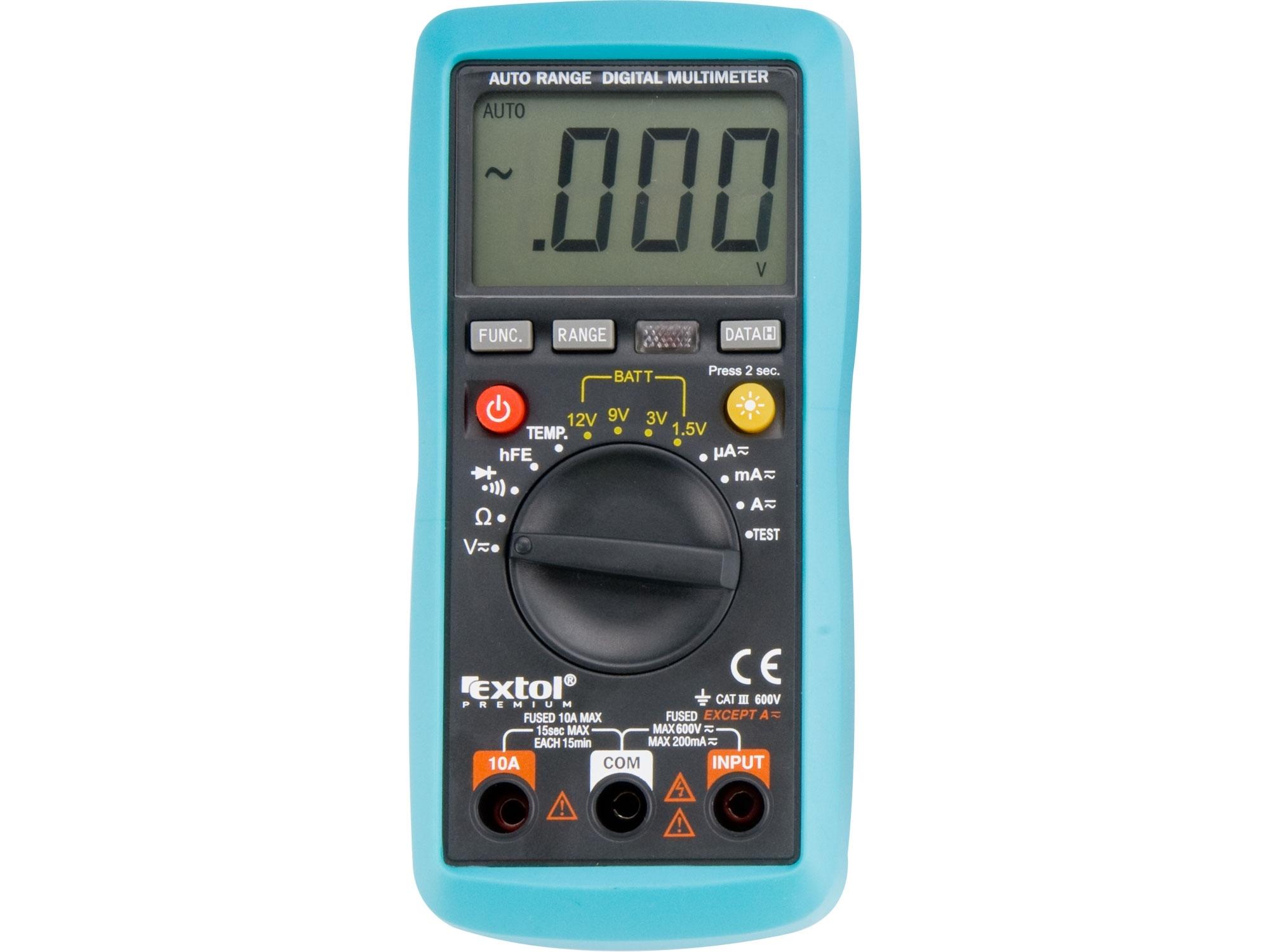 multimetr digitální s automatickou volbou rozsahů, EXTOL PREMIUM 8831250