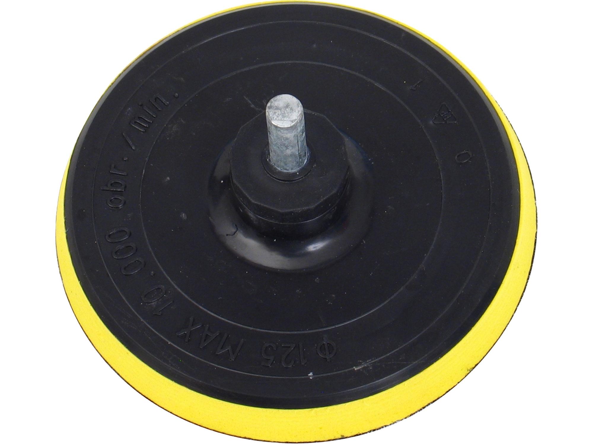 nosič brusných výseků do vrtačky - suchý zip, rp.125mm, stopka 8mm, EXTOL CRAFT 108425