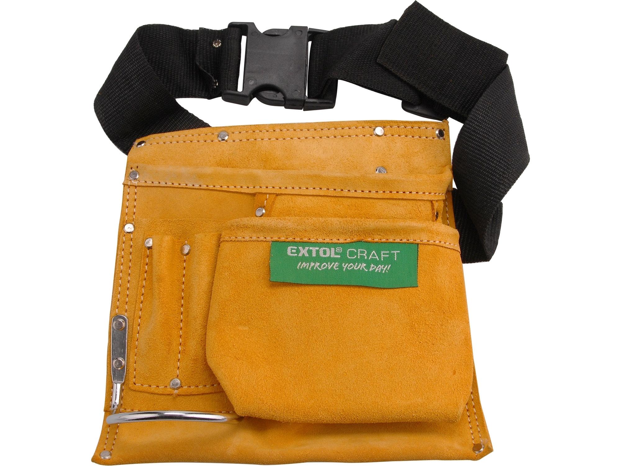 pás na nářadí kožený bez opasku, 3 kapsy, EXTOL CRAFT 418
