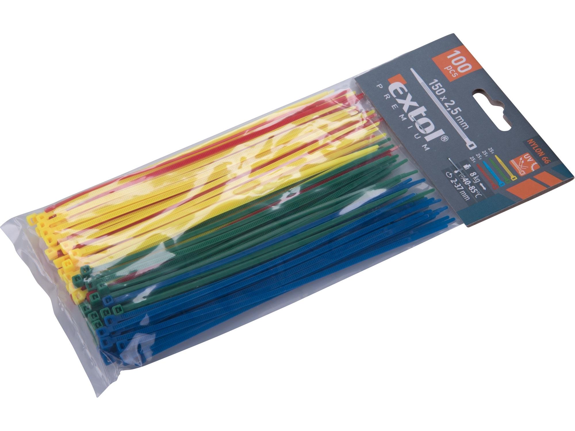 pásky stahovací barevné, 150x2,5mm, 100ks, (4x25ks), 4 barvy, nylon, EXTOL PREMIUM 8856194