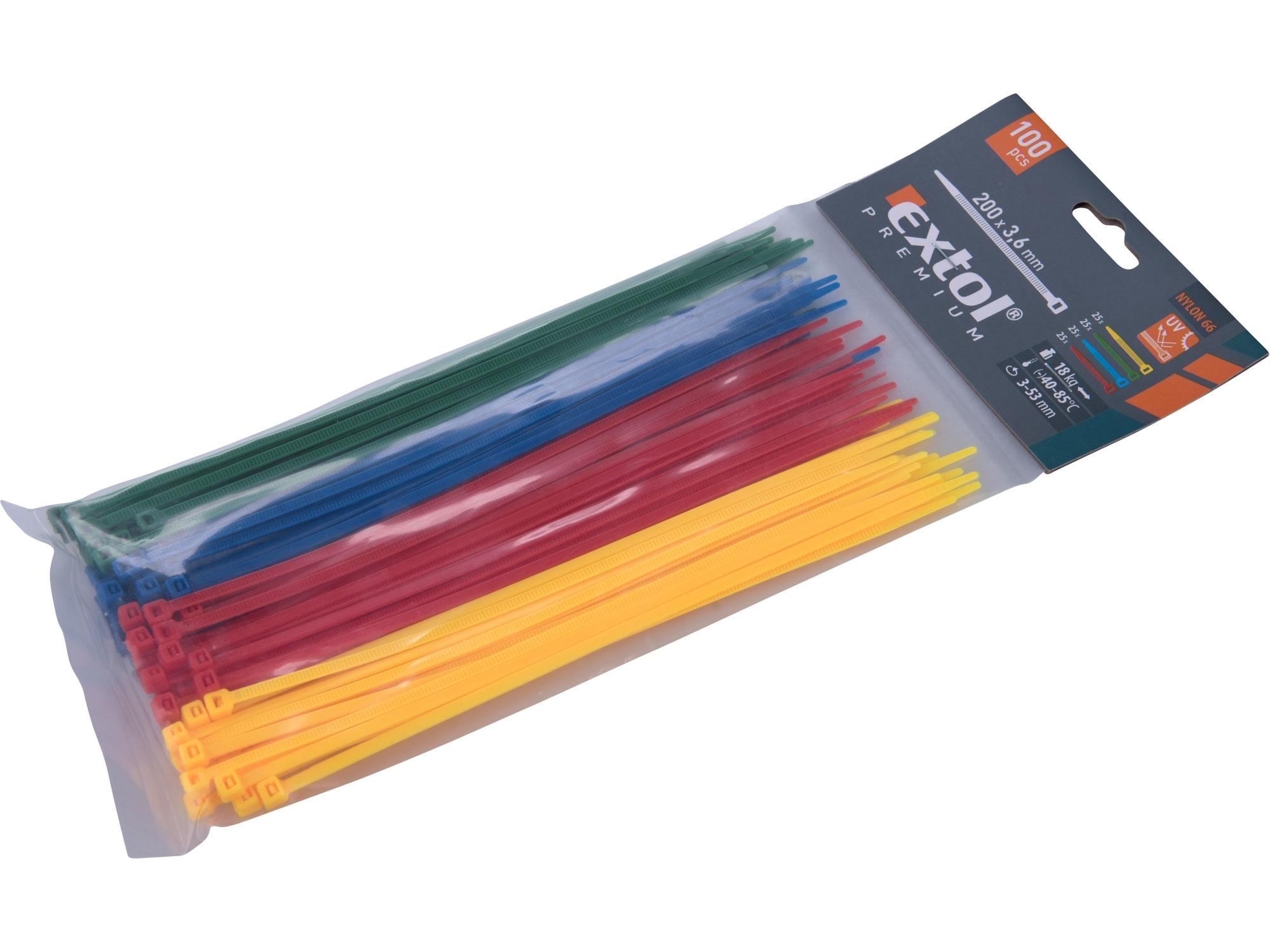 pásky stahovací barevné, 200x3,6mm, 100ks, (4x25ks), 4 barvy, nylon PA66