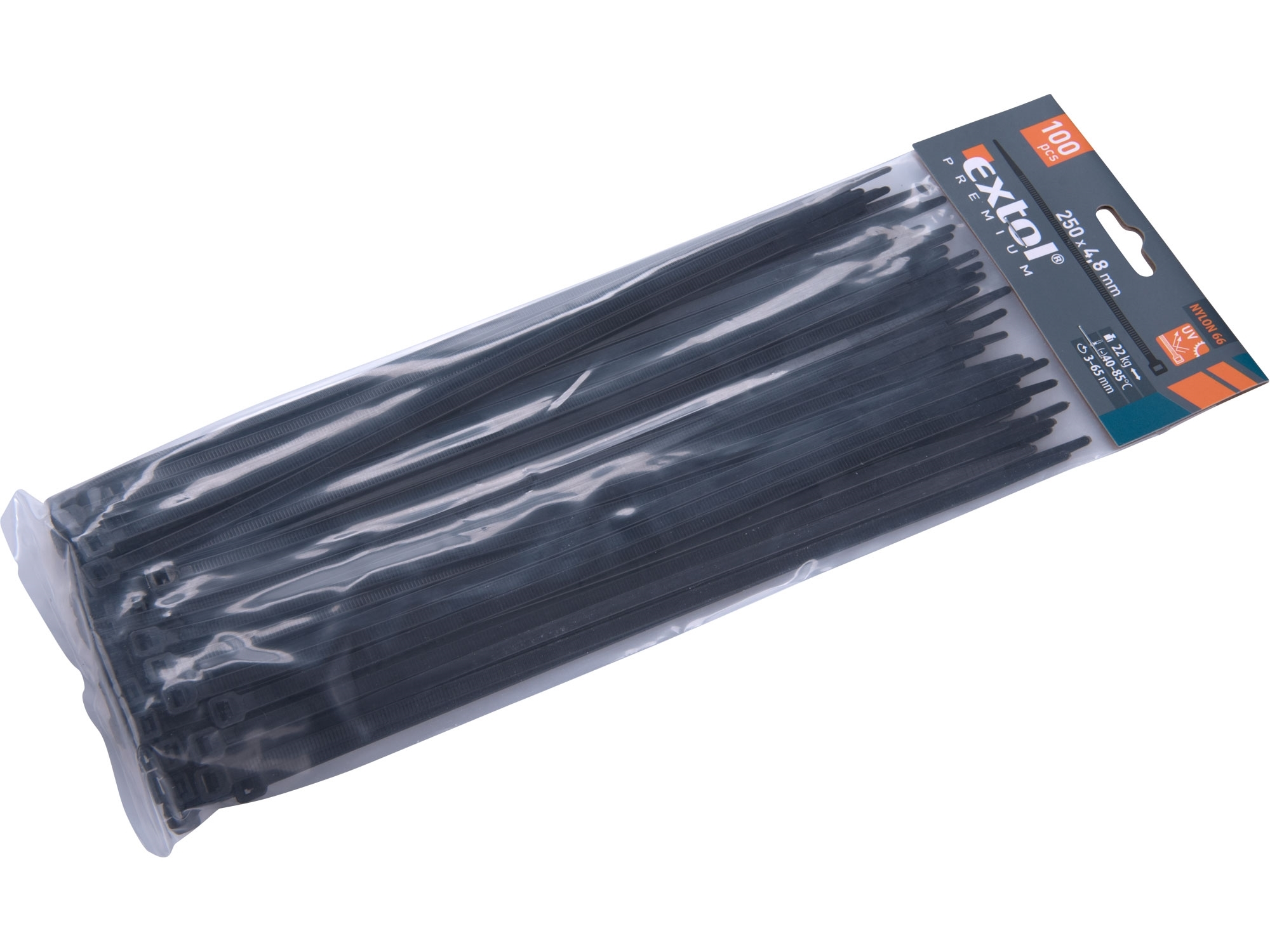 pásky stahovací černé, 250x4,8mm, 100ks, nylon