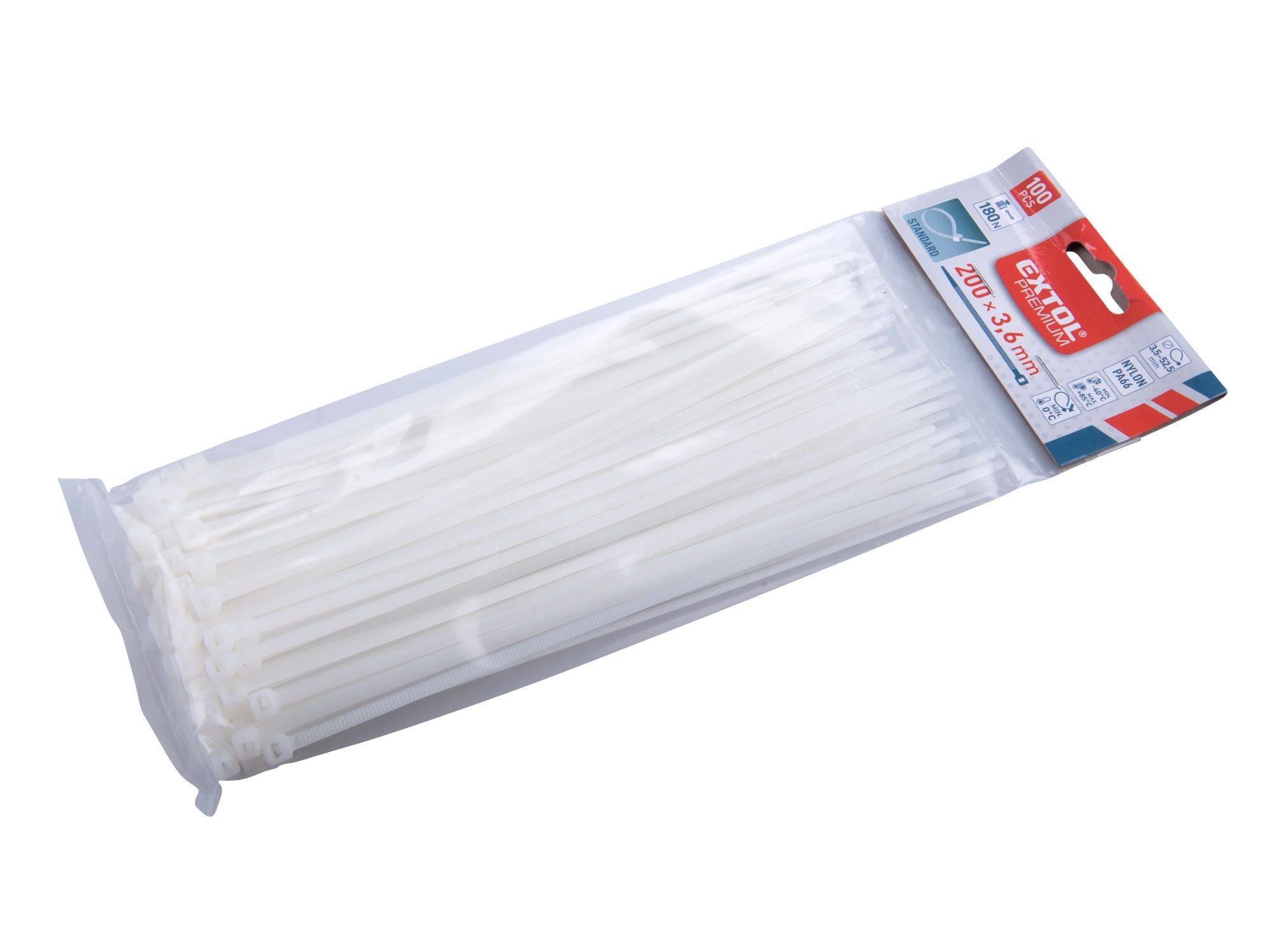 pásky stahovací bílé, 200x3,6mm, 100ks, nylon, EXTOL PREMIUM 8856106