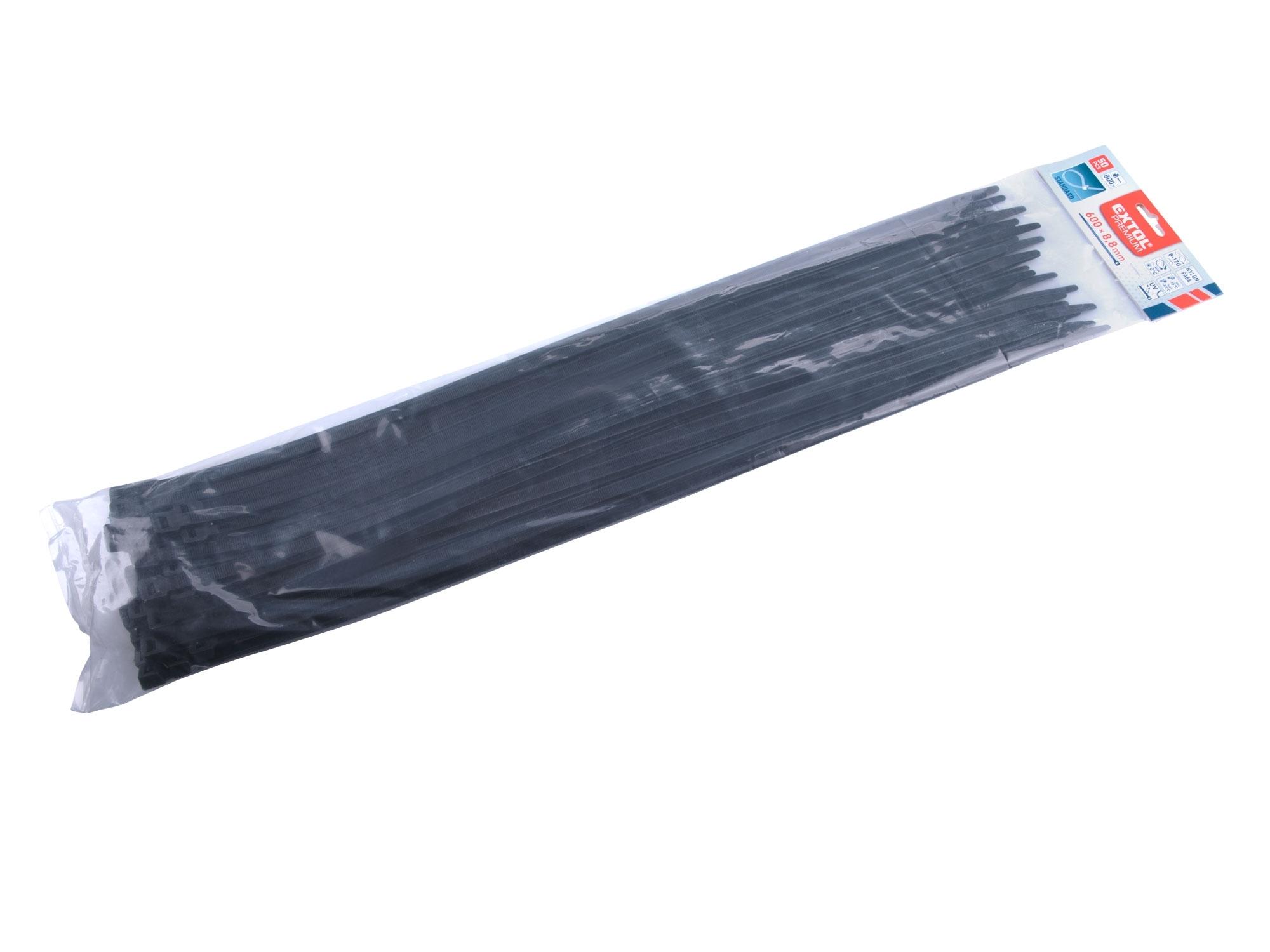 pásky stahovací na kabely černé, 600x8,8mm, 50ks, nylon PA66
