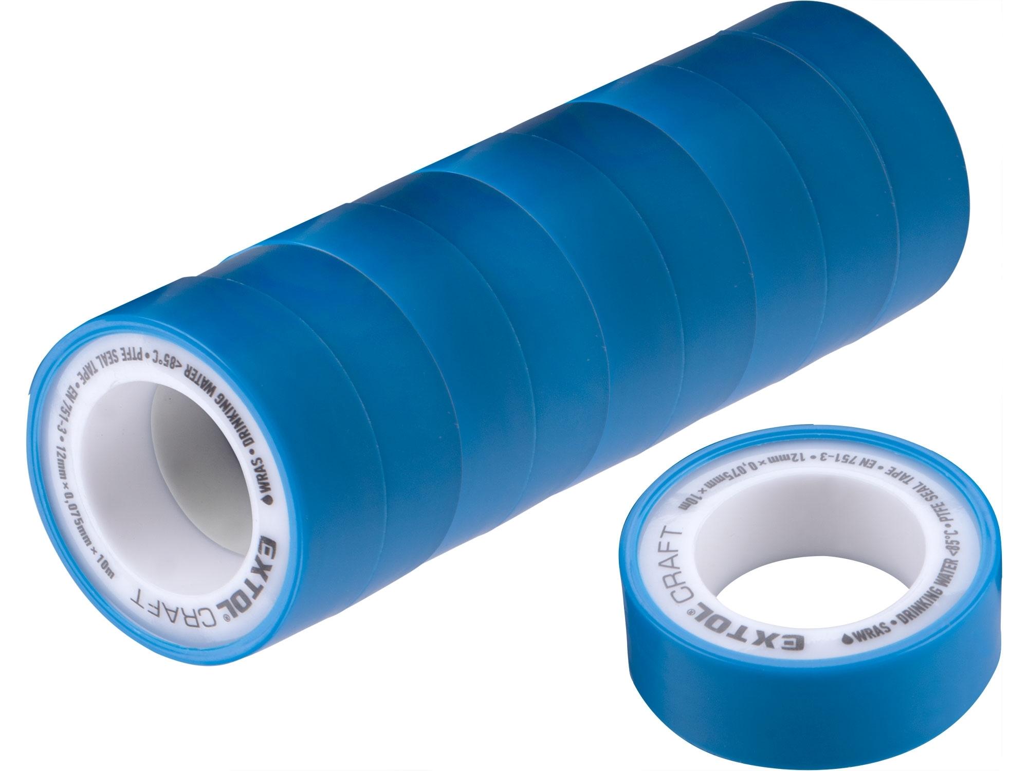 pásky těsnící teflonové, sada 10ks, 12mm x 10m, EXTOL CRAFT 47531
