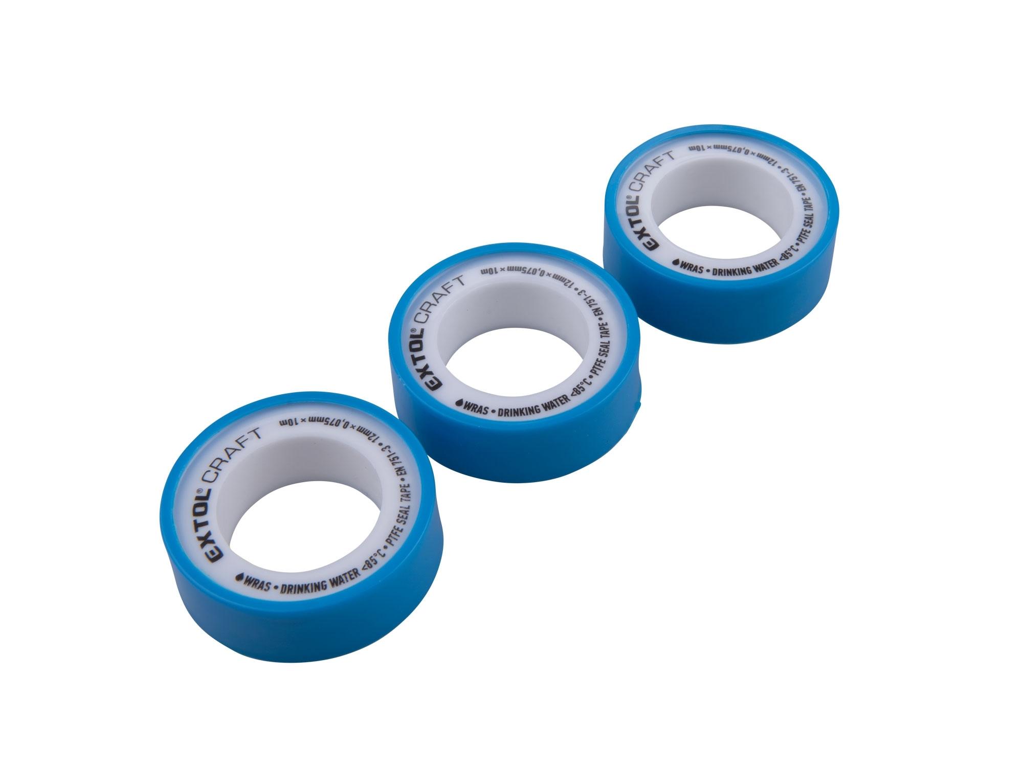 páska izolační teflonová, sada 3ks, 12mm x 10m, EXTOL CRAFT 47530
