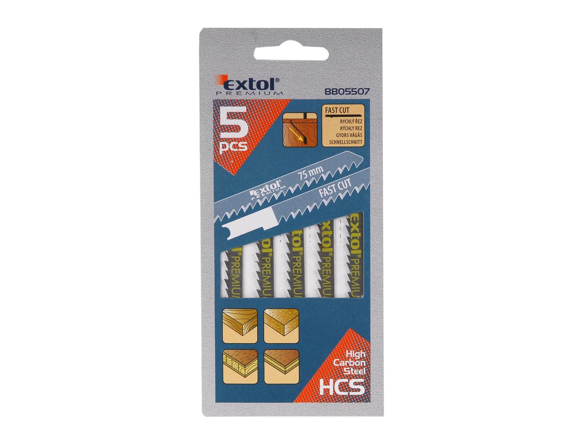 plátky do přímočaré pily 5ks, 75x4,0mm, HCS