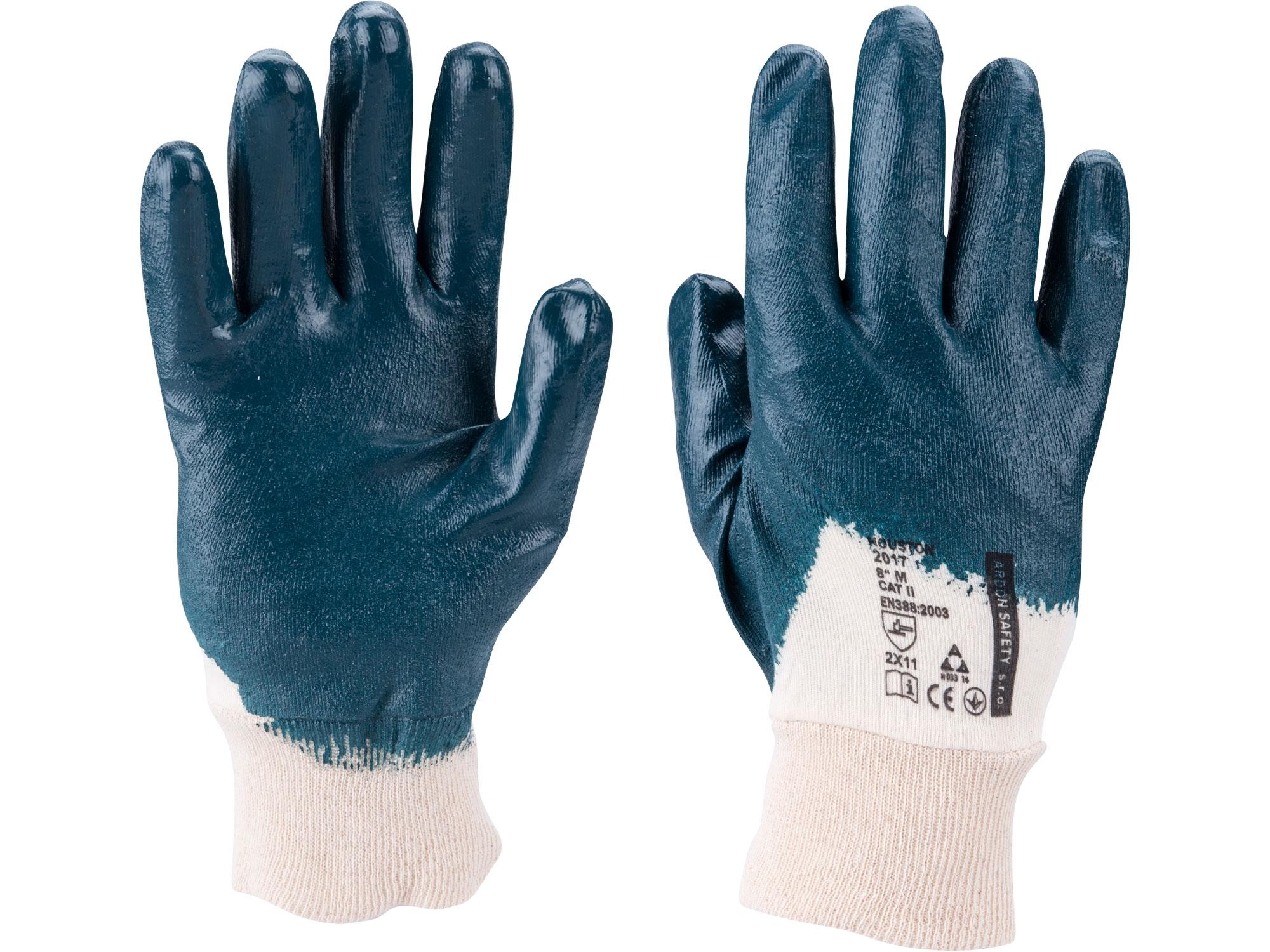 """rukavice bavlněné polomáčené v nitrilu, velikost 8"""""""