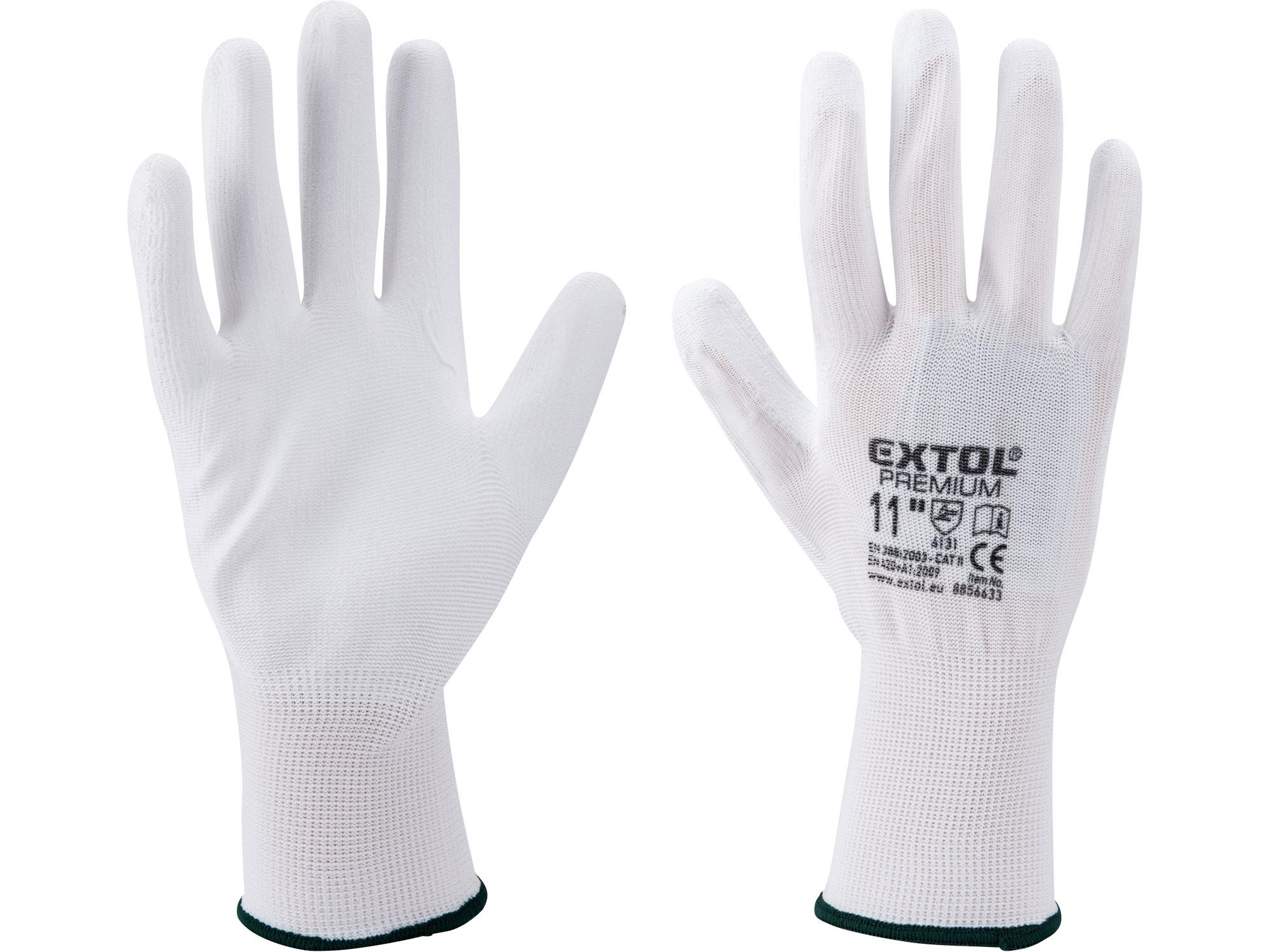 """rukavice z polyesteru polomáčené v PU, bílé, velikost 11"""", EXTOL PREMIUM 8856633"""