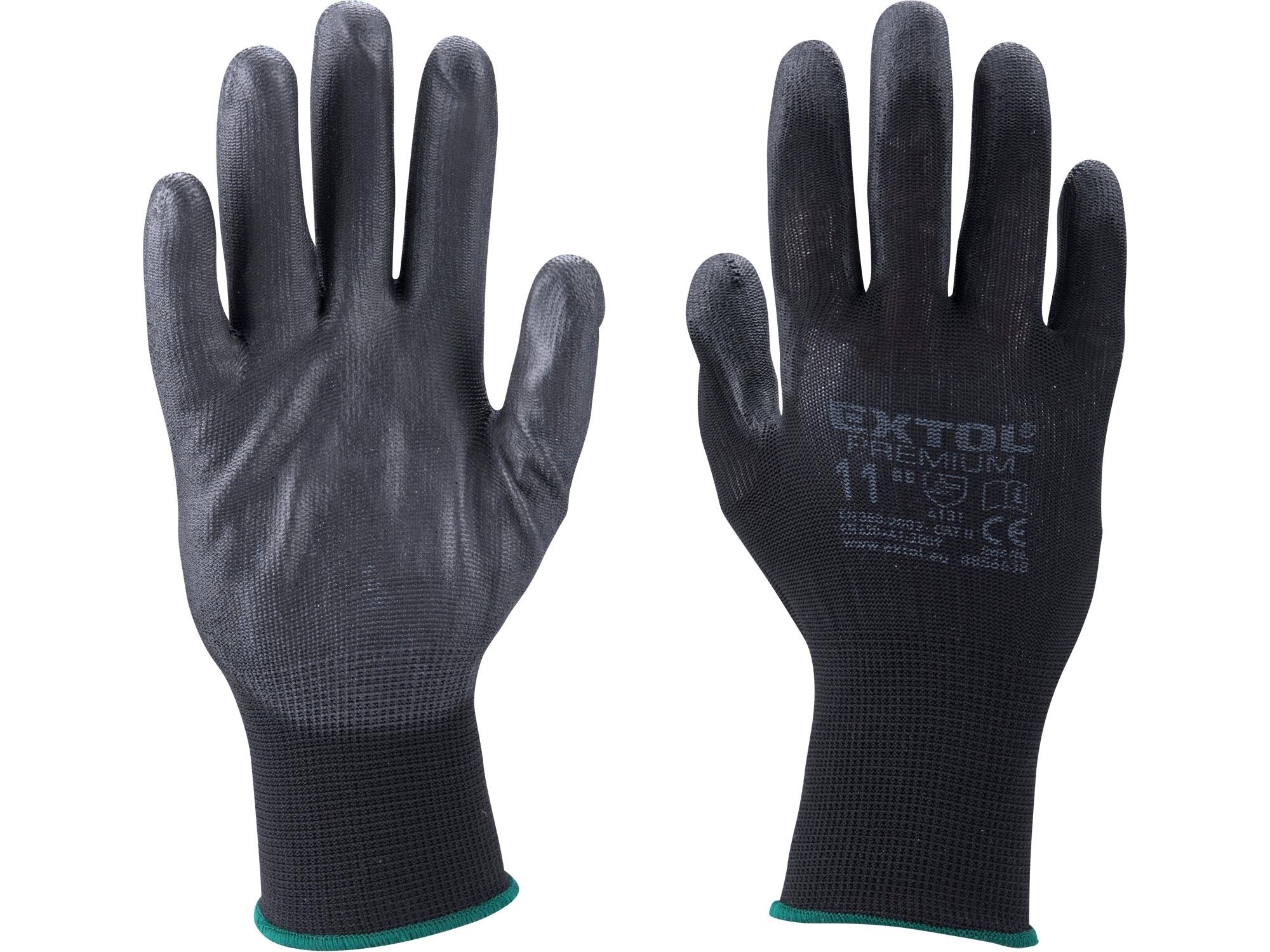"""rukavice z polyesteru polomáčené v PU, černé, velikost 10"""", EXTOL PREMIUM 8856637"""