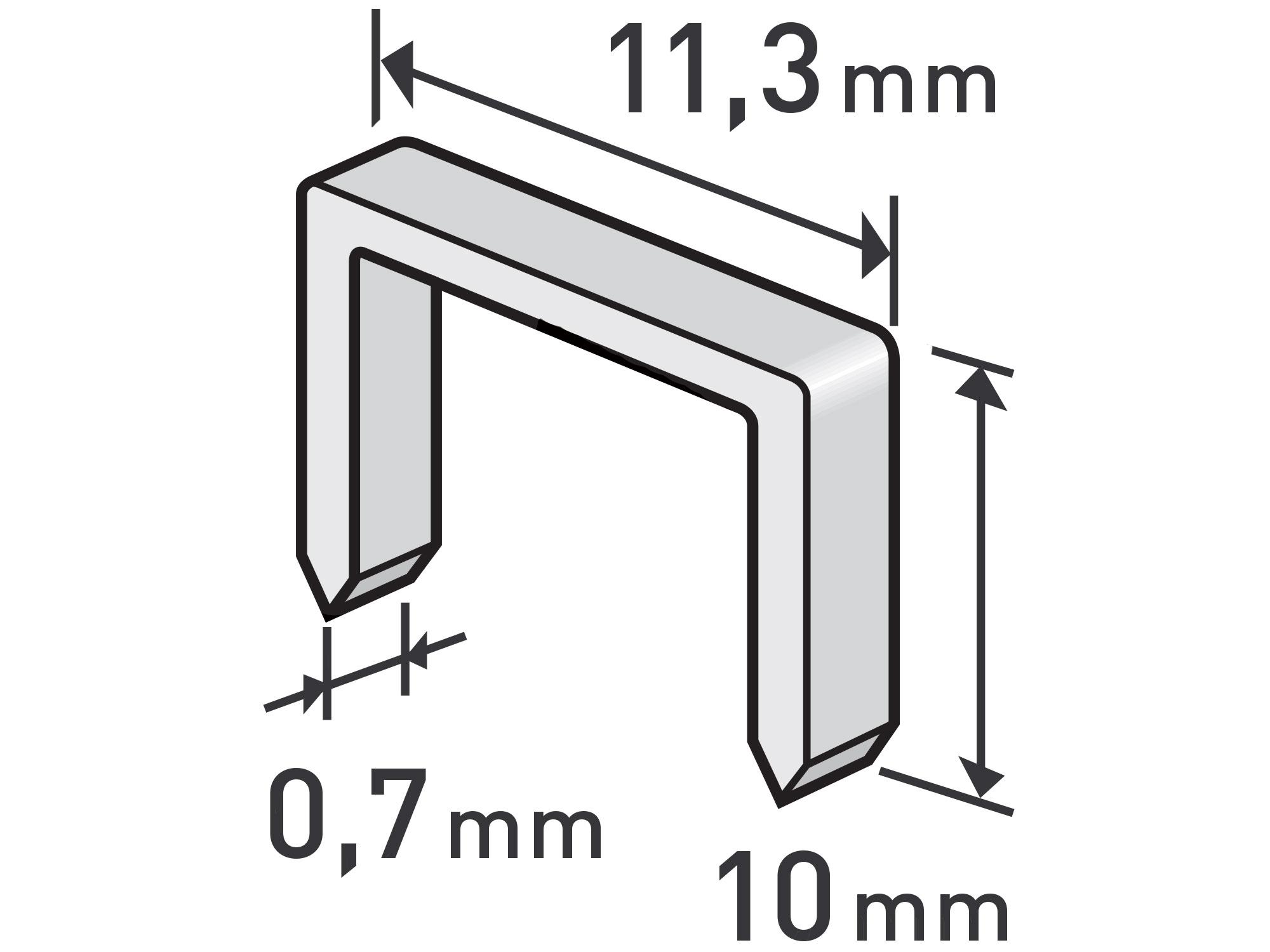spony, balení 1000ks, 10mm, 11,3x0,52x0,70mm, EXTOL PREMIUM 8852503