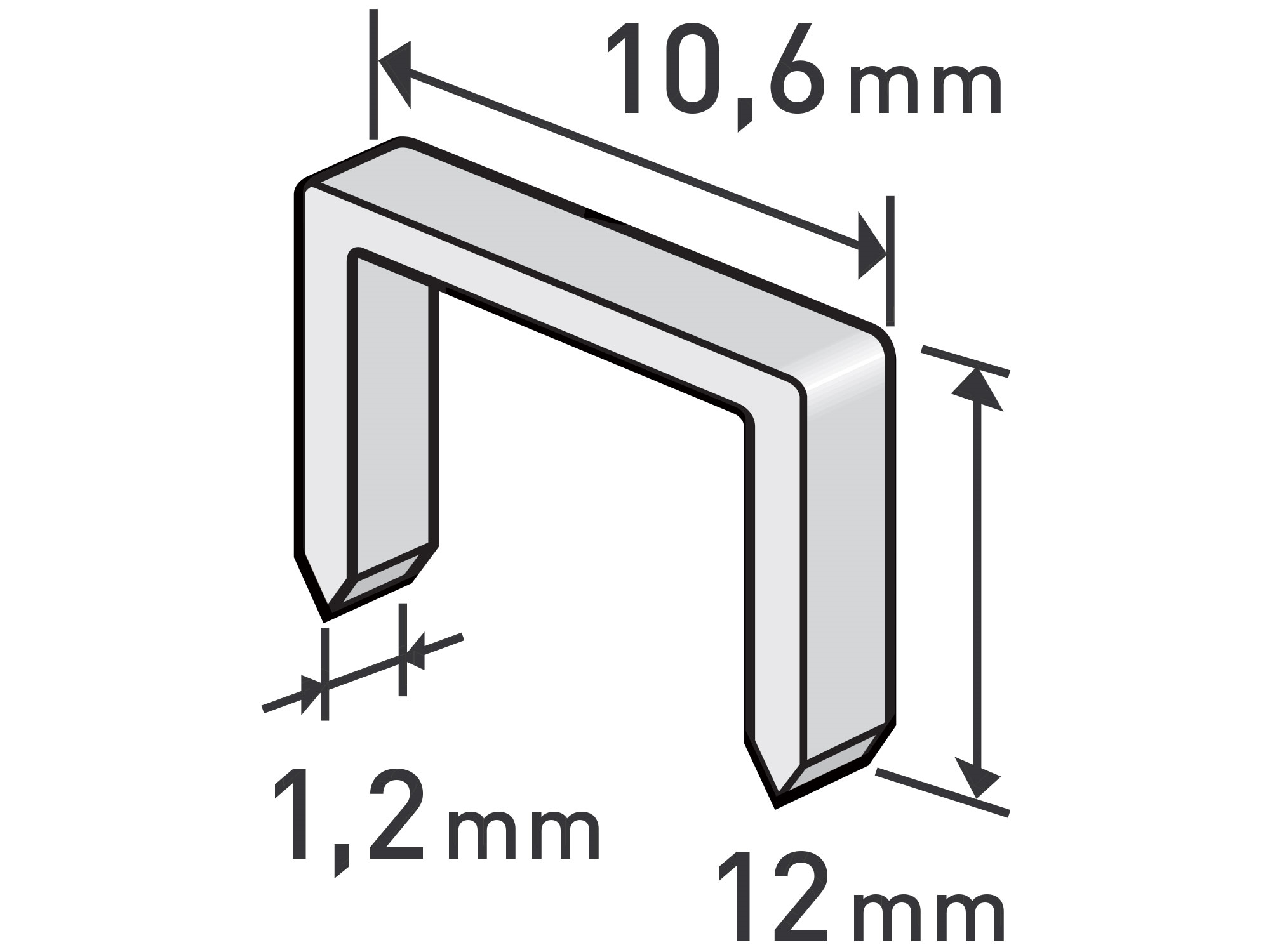 spony, balení 1000ks, 12mm, 10,6x0,52x1,2mm