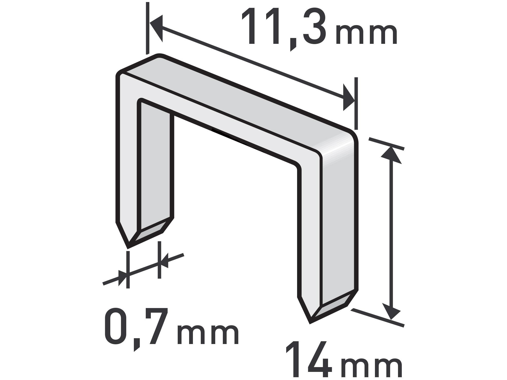 spony, balení 1000ks, 14mm, 11,3x0,52x0,70mm