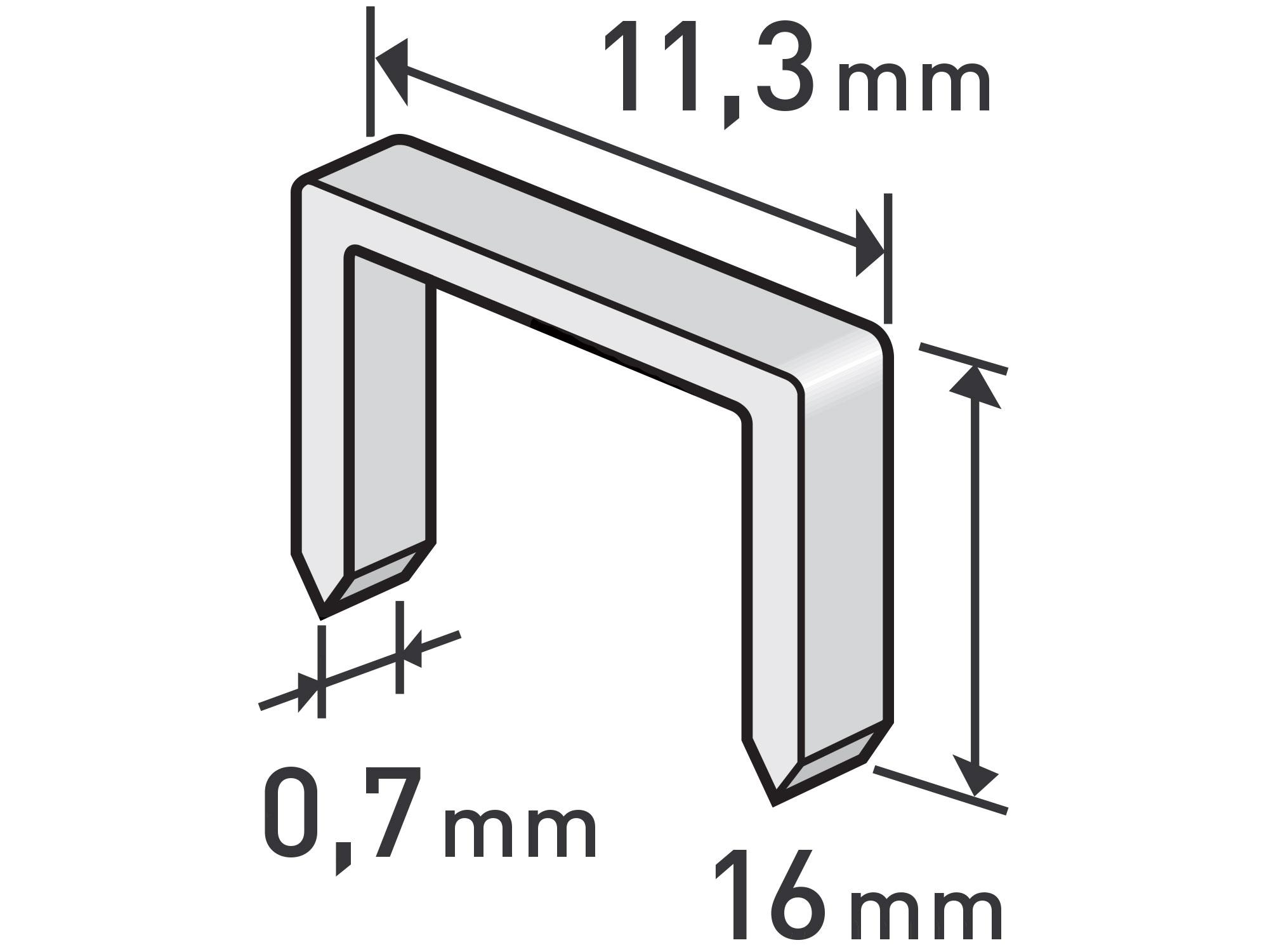 spony, balení 1000ks, 16mm, 11,3x0,52x0,70mm
