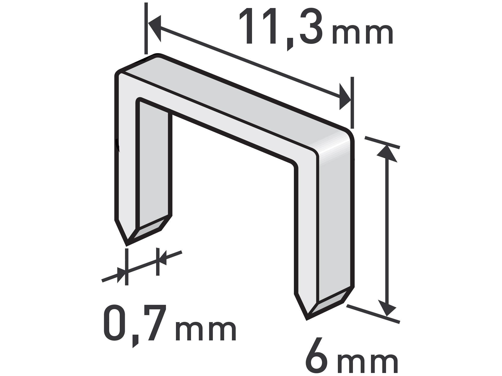 spony, balení 1000ks, 6mm, 11,3x0,52x0,70mm, EXTOL PREMIUM 8852501