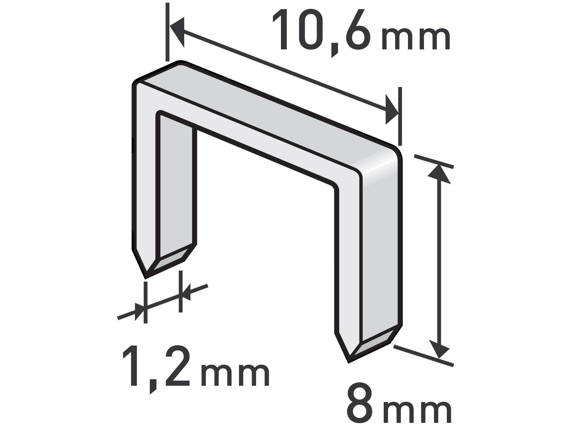 spony, balení 1000ks, 8mm, 10,6x0,52x1,2mm