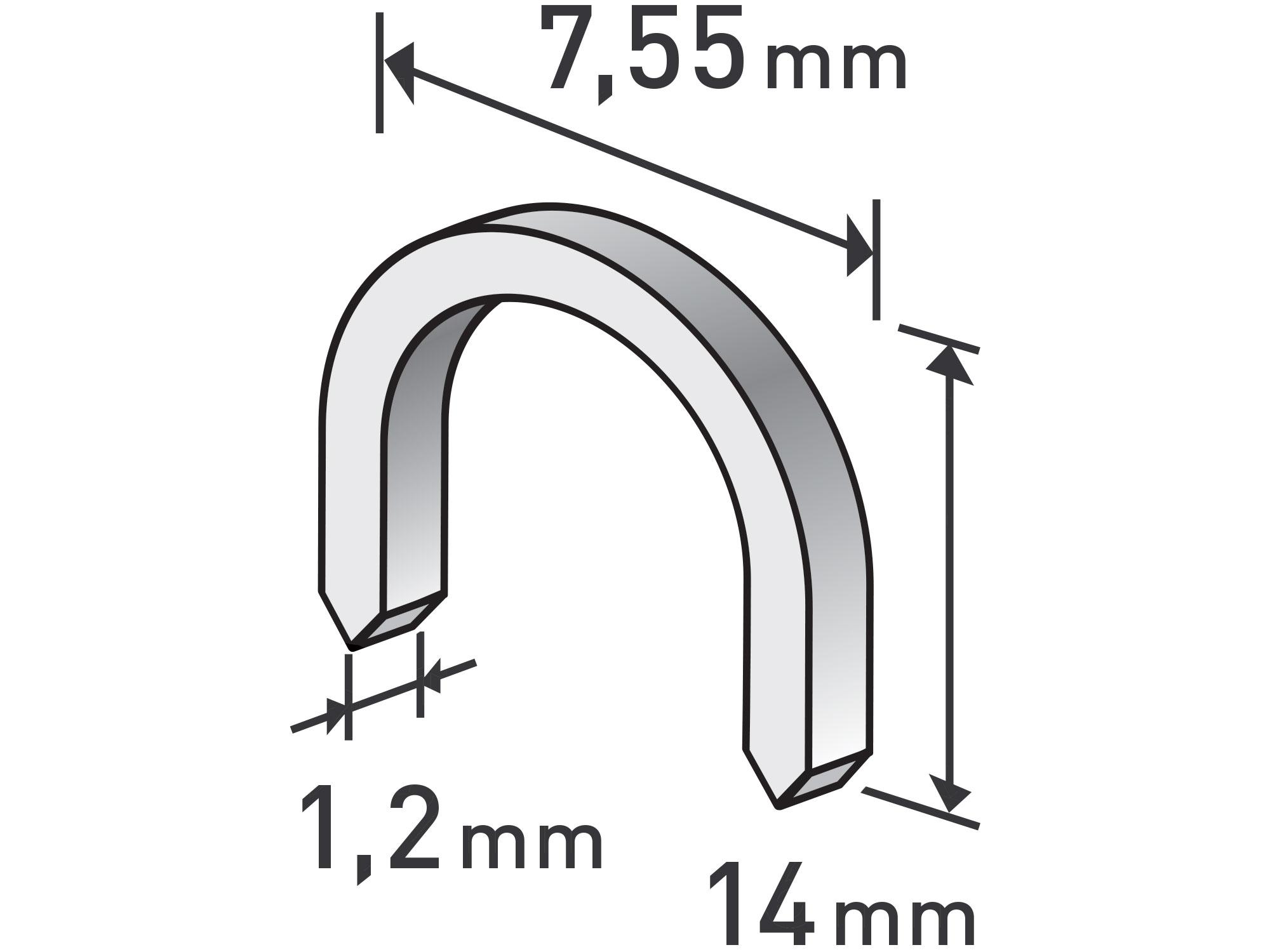 spony oblé, balení 1000ks, 14mm, 7,55x0,52x1,2mm, EXTOL PREMIUM 8852305