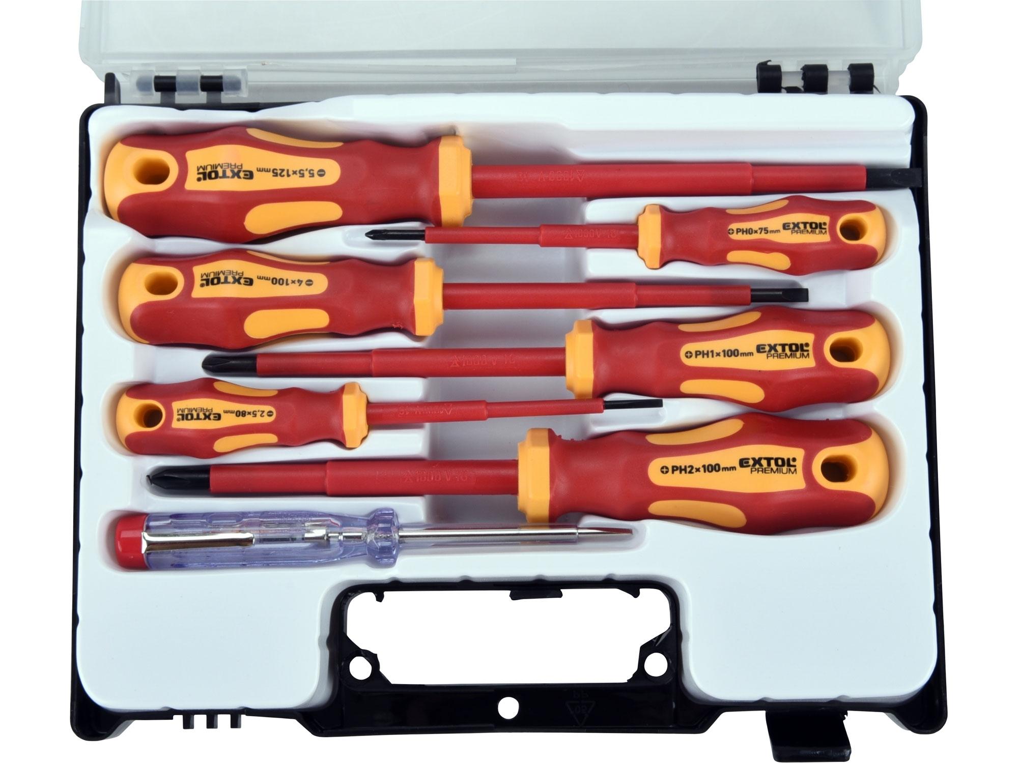 šroubováky elektrikářské se zkoušečkou, sada 7ks, 3x(-),3x(PH), CrV 53087