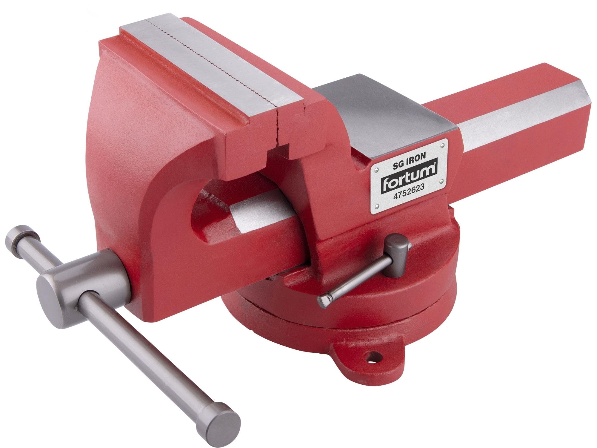 svěrák otočný s kovadlinou, 125mm, SG Iron, FORTUM 4752623
