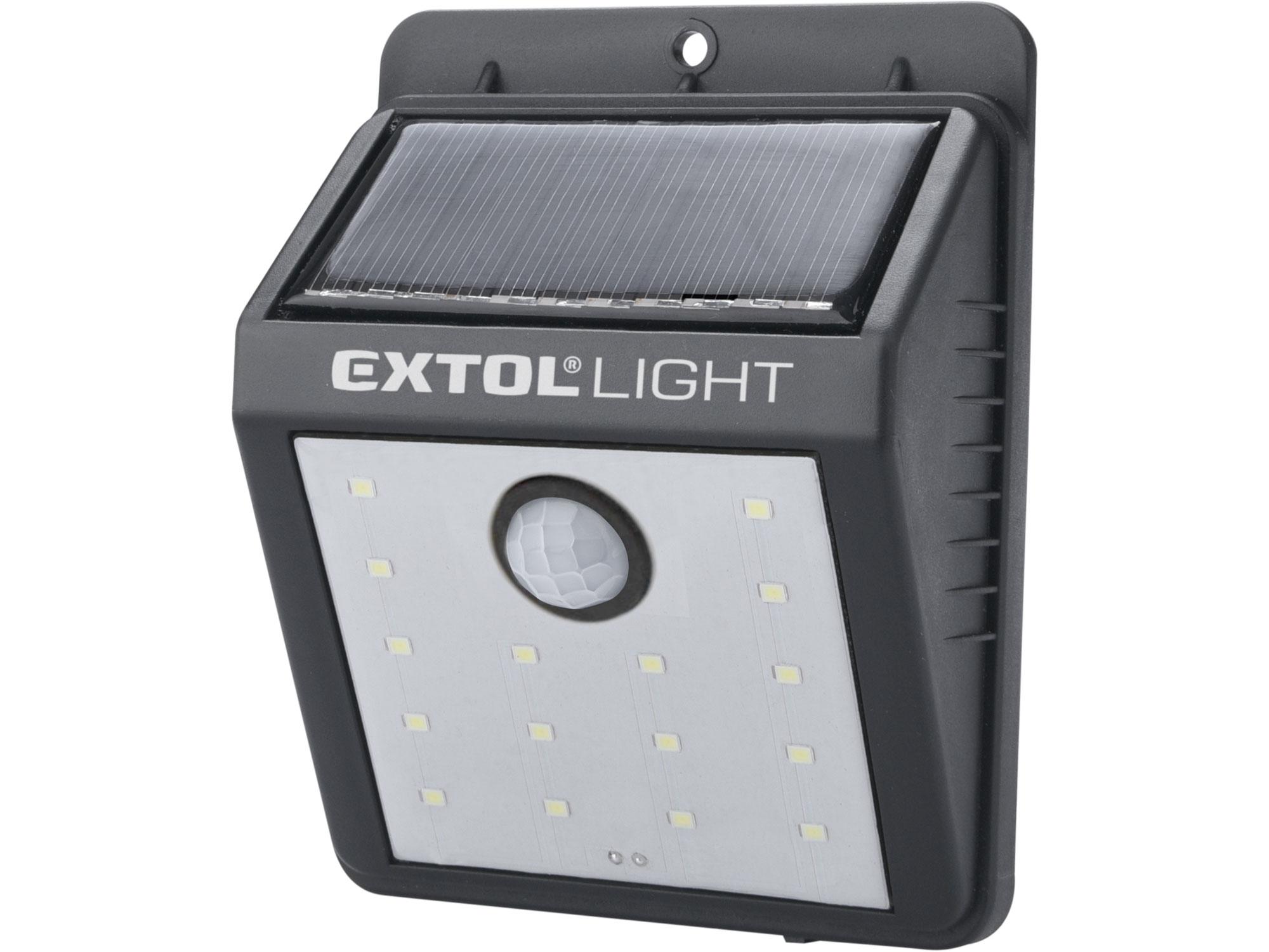 světlo nástěnné s pohybovým čidlem, 120lm, solární nabíjení, EXTOL LIGHT 43130