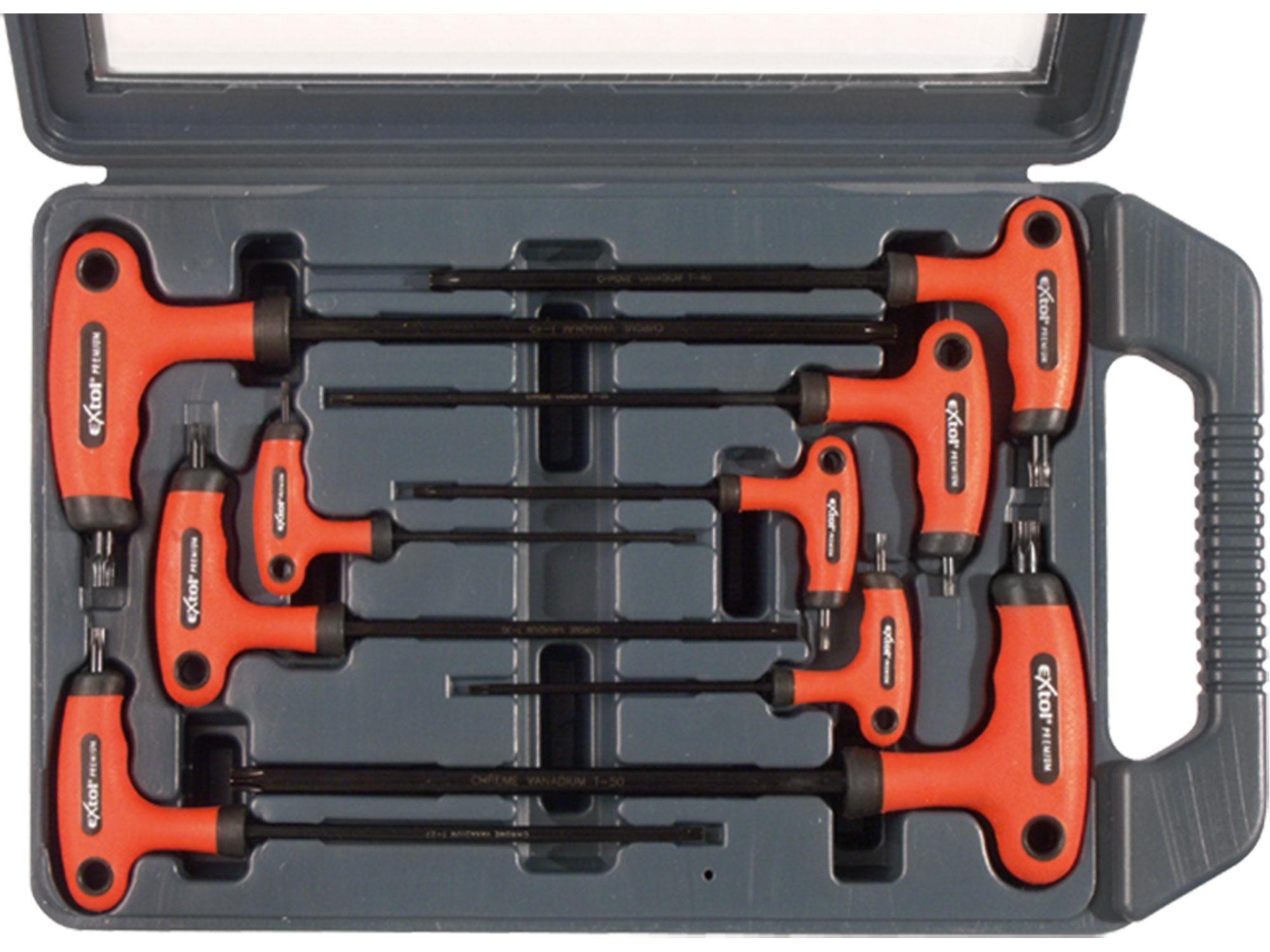 T-klíče TORX, sada 9ks, T10-50mm, EXTOL PREMIUM 8819401
