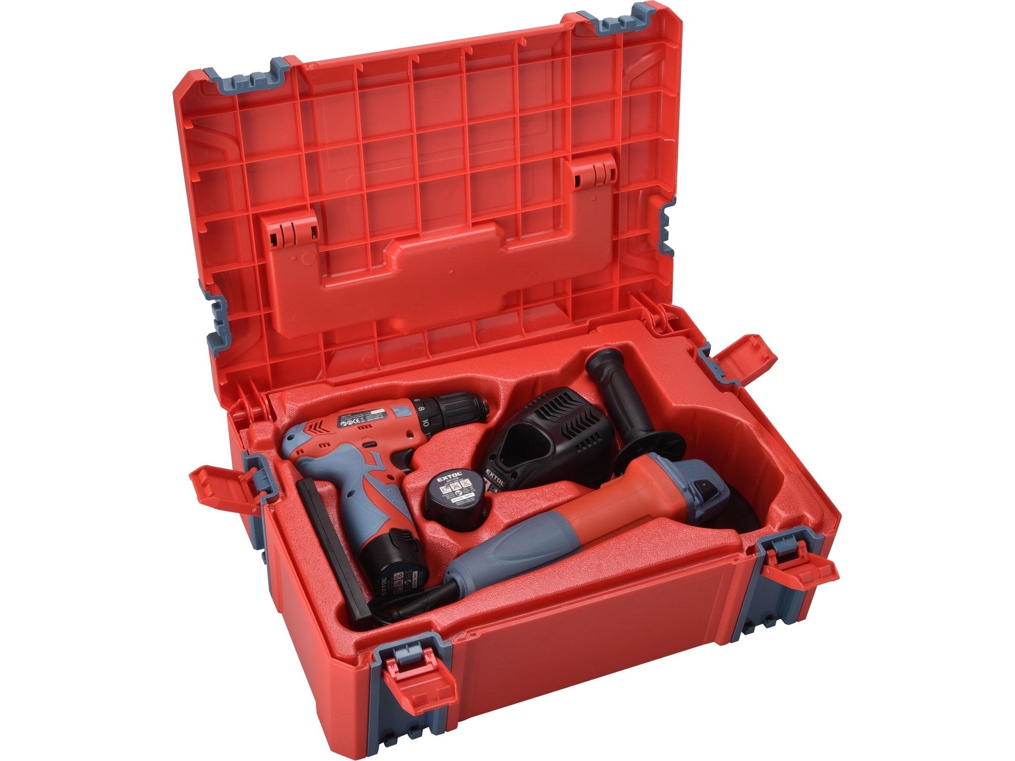 sada vrtačka aku 12V a bruska úhlová 125mm v plastovém boxu, EXTOL PREMIUM 8898311