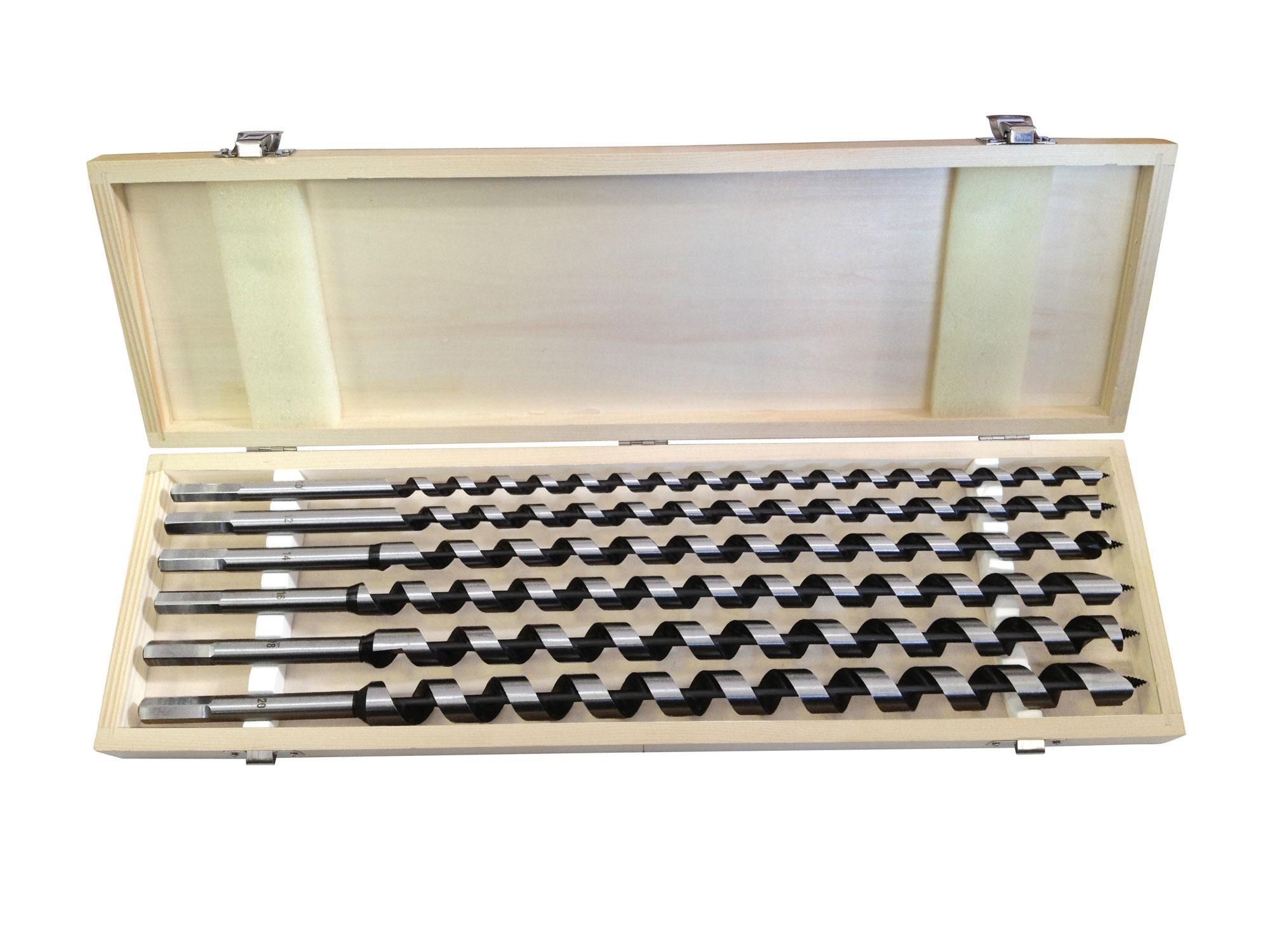vrtáky hadovité do dřeva, sada 6ks, O 10-20x460mm