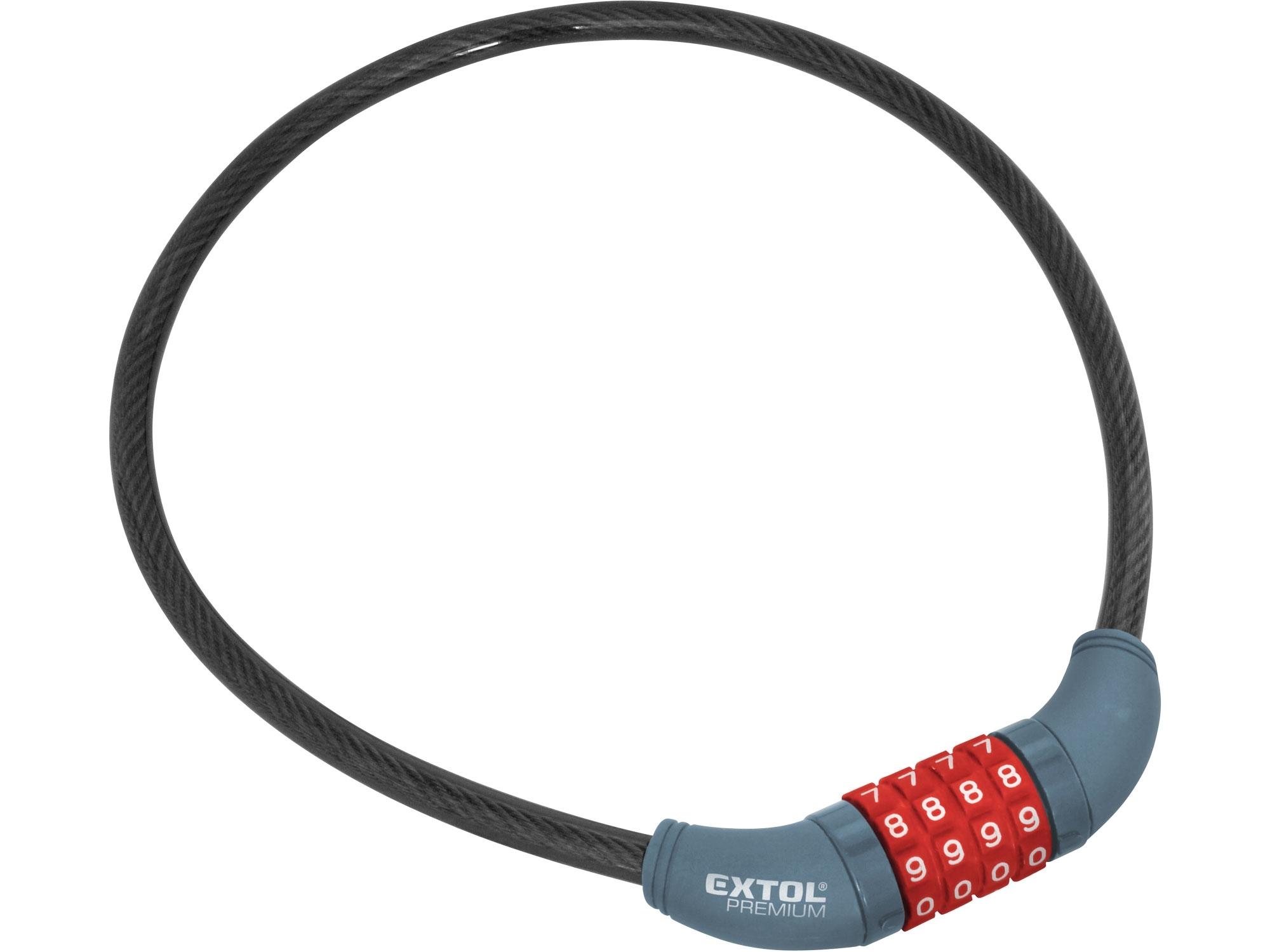 zámek na kolo-lanko, kódové zamykání, 10x650mm, EXTOL PREMIUM 8857822